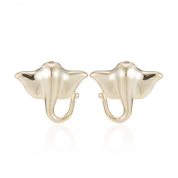 Gold manta ray earrings