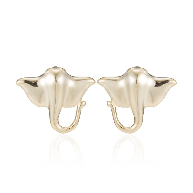 Gold manta ray earrings