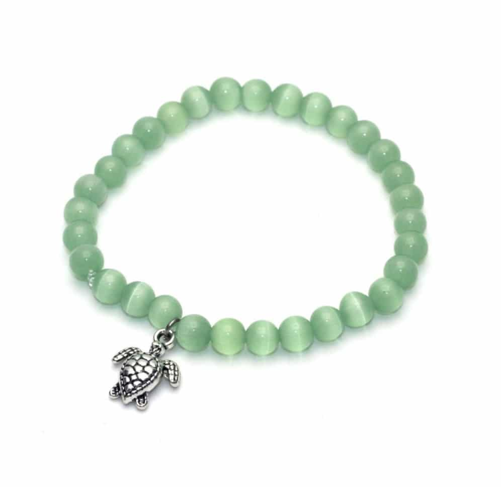 Green cat eye sea turtle bracelet