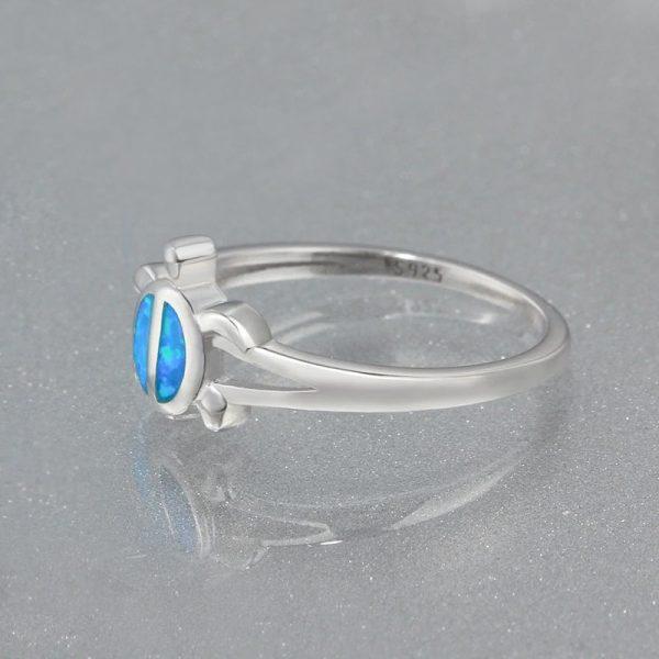 Opal Silver Sea Turtle Ring