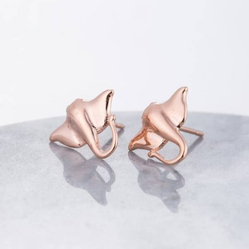 rose gold manta ray earrings