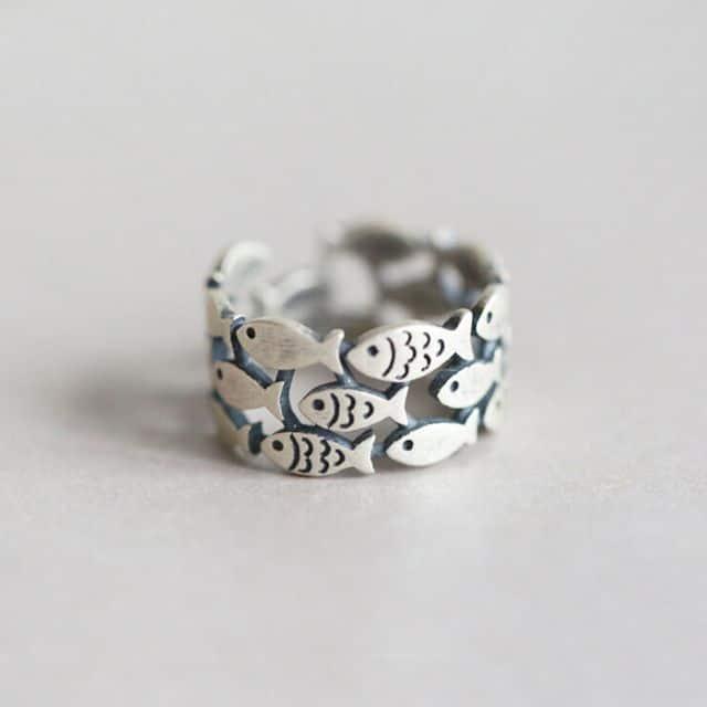 School of fish silver ring