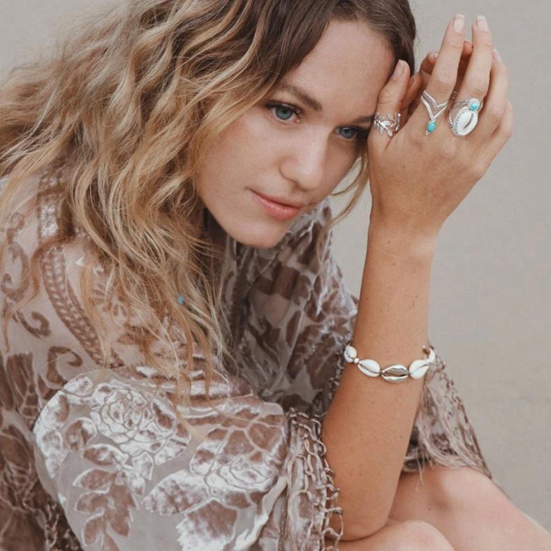 Silver bohemian cowrie bracelet