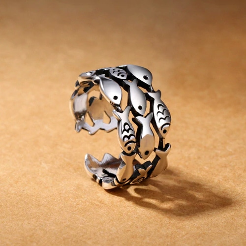 silver school fish ring