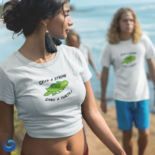 Skip a straw, save a turtle shirt