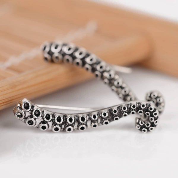 Stainless Steel Octopus Tentacle Earrings