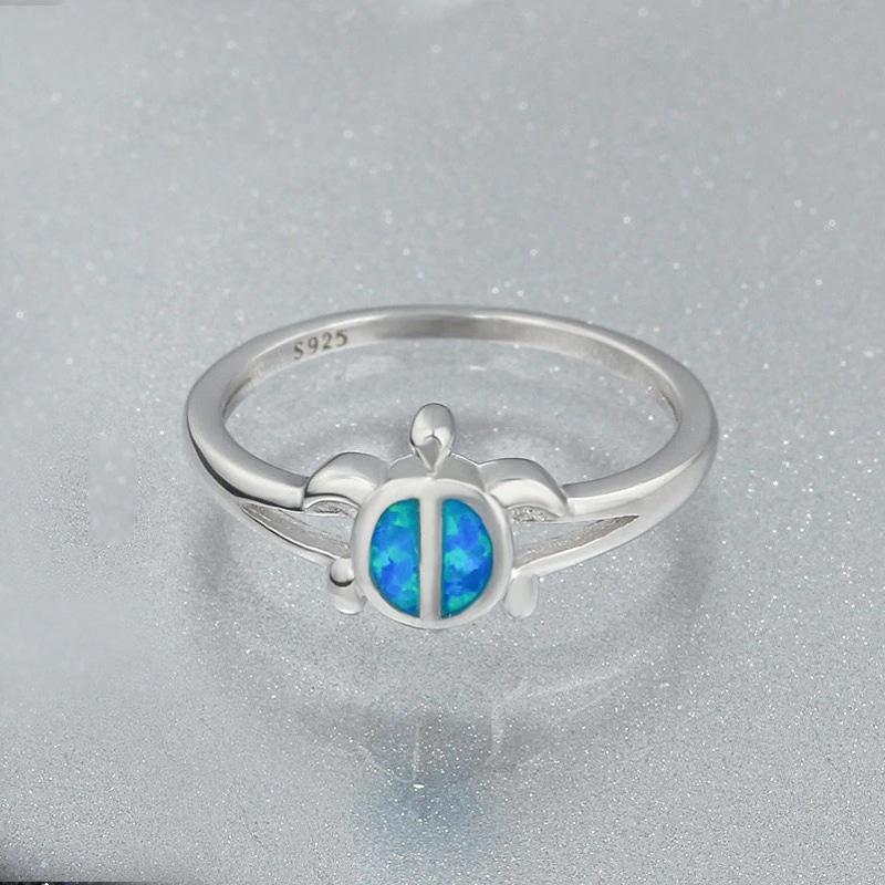 Silver sea turtle ring