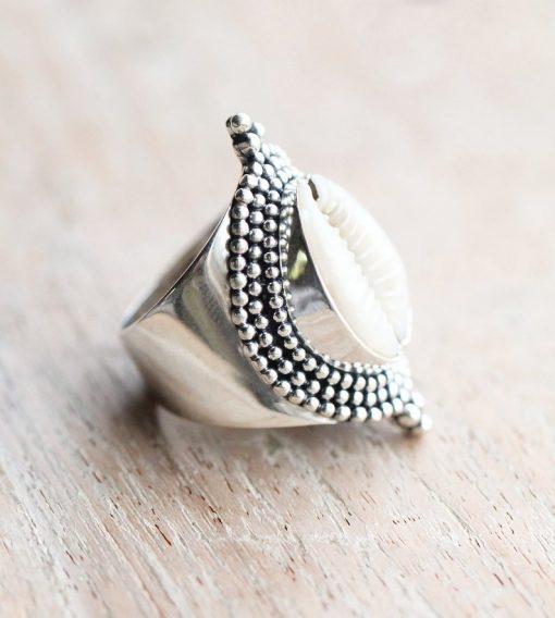 Boho Cowrie Shell Ring