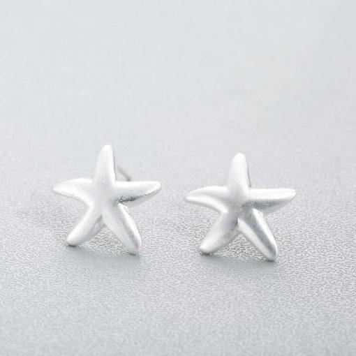 Silver starfish earrings