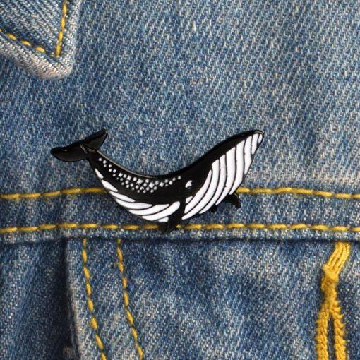 Whale enamel pin