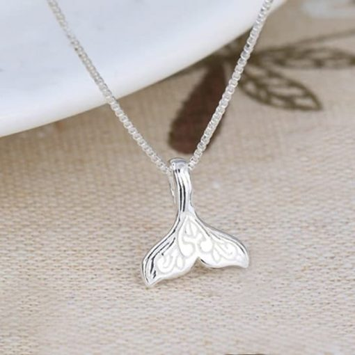 Sterling Silver Whale Tail necklace-min