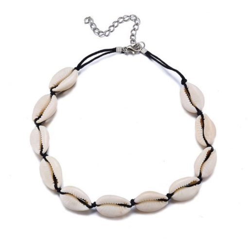 Black Cowrie Shell Choker Necklace-min