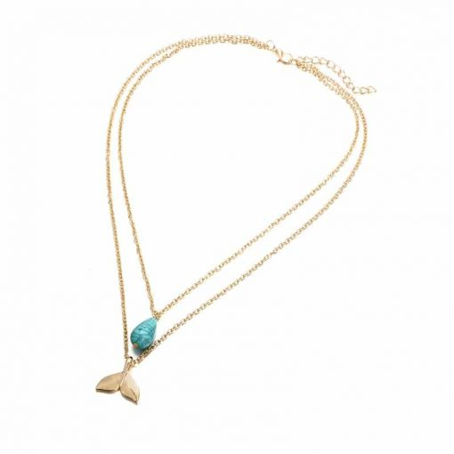 Blue Opal whale tail necklace
