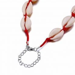 Red Cowrie Shell Choker Necklace-min