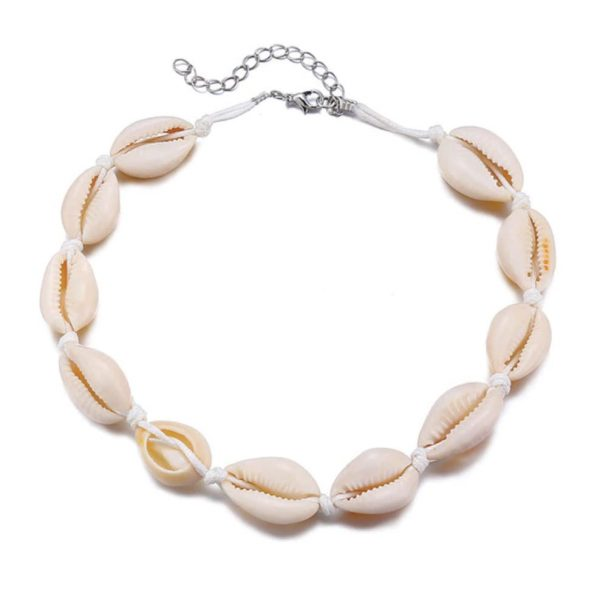 White Cowrie Shell Choker Necklace-min