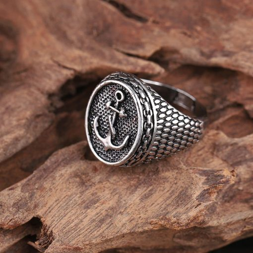 Silver men anchor ring