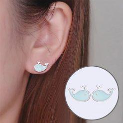 Silver Whale Earrings
