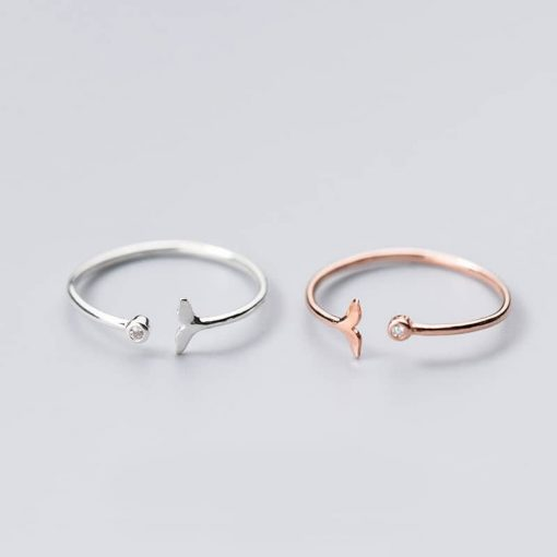 Silver whale tail ring