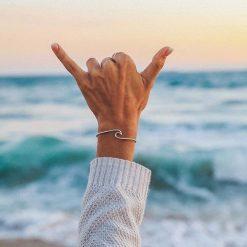 Silver Wave Bangle bracelet