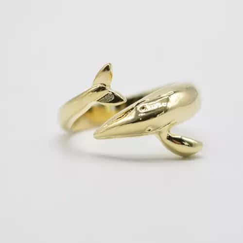 Gold blue whale ring