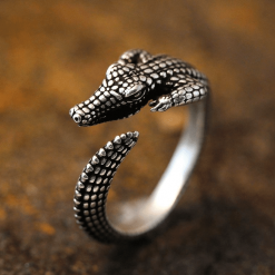 Silver Crocodile Ring