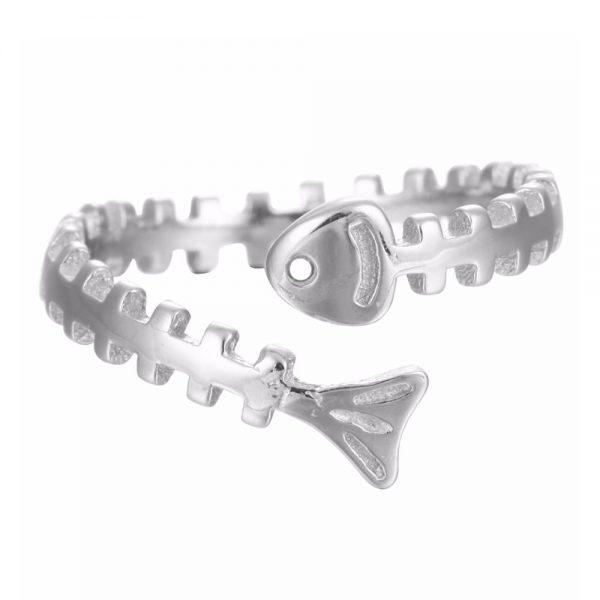 Silver Fish Bone Ring
