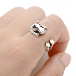 Silver hippopotamus ring