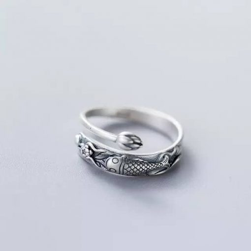 Silver Koi fish ring