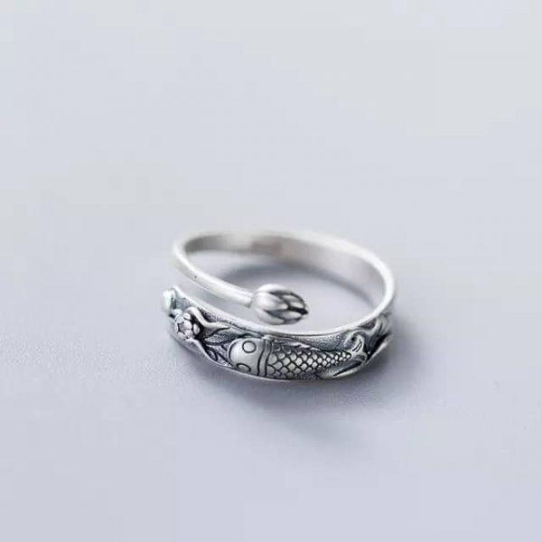 Silver Koi fish ring