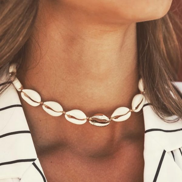 gold cowrie shell chocker necklace