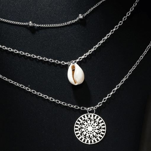 Boho cowrie shell necklace