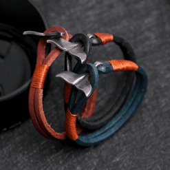 Leather Whale Tail Bracelet