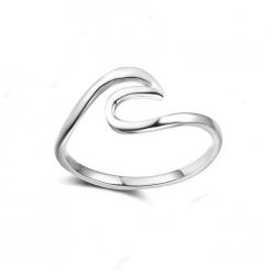 Silver Ocean Wave Ring