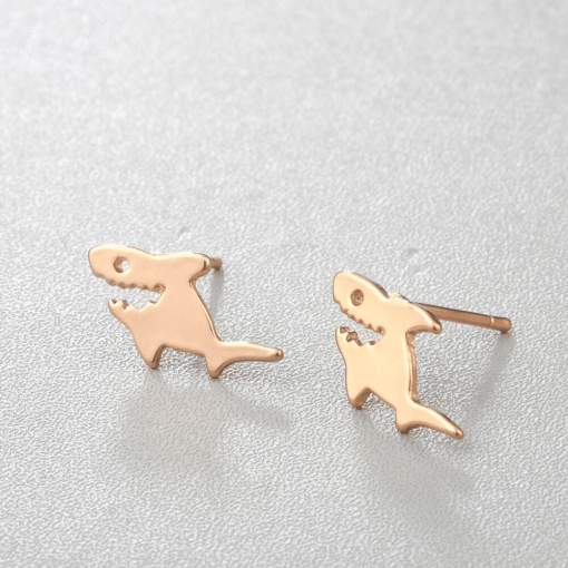 gold Shark Stud earrings
