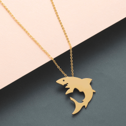 Gold White Shark necklace