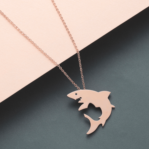 Rose White Shark necklace