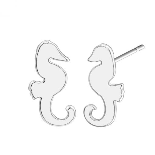 Silver seahorse stud earrings