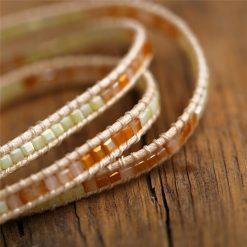 Boho leather bracelet set
