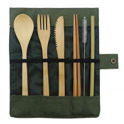 Green Bamboo Cutlery Set