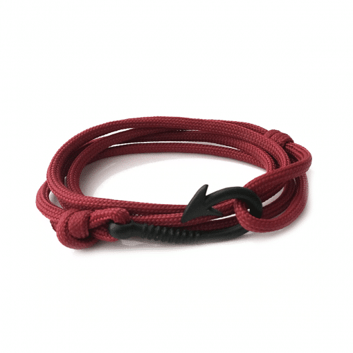 Fish Hook Paracord Bracelet - Burgundy