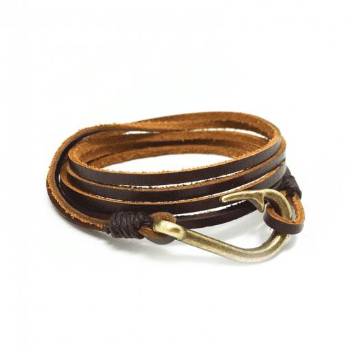 Leather Fish Hook Bracelet