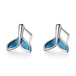 Blue Whale Tail Earrings