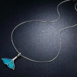 Silver Whale Fluke Necklace