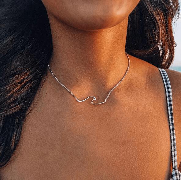 Beach ocean wave necklace