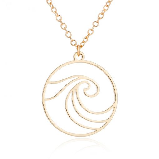 Gold surfing necklace