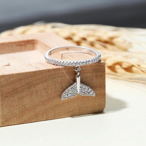 Silver Beluga Tail Ring