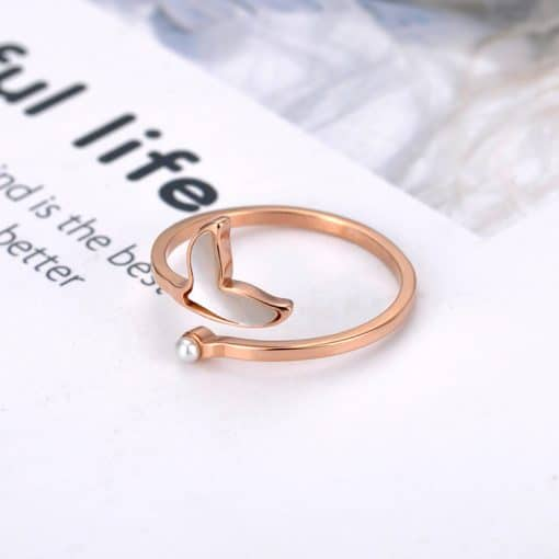 Gold plated Whale tail ring